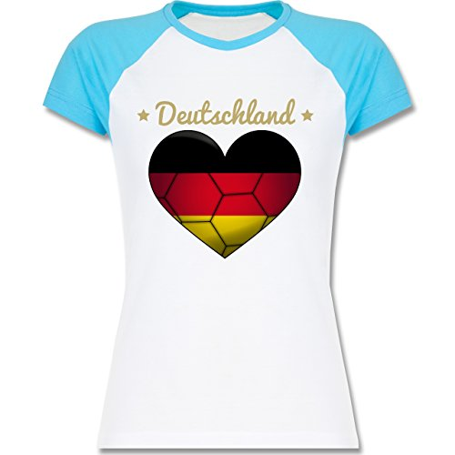 Handball - Handballherz Deutschland - zweifarbiges Baseballshirt / Raglan T-Shirt für Damen Weiß/Türkis