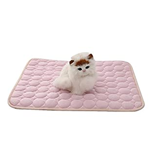Aolvo Dog Cooling Mat/Pad/Bed, Pet Cooling Mats Extra Large Size for Dogs & Cats – Cool Fabric, Non Toxic, Non Sticking – Keep Pets Cool, Prevent Overheat, Cool Stuff for Pet – Pink (19.69″ X 15.74″) 41dK 2BUPli1L