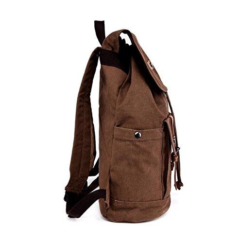 LF&F High End Retro Leinwand Umhängetasche Multifunktions-Rucksack Freizeittasche Bergsteigen Tasche Wanderrucksack Wochenende Reisetasche Anti-Riss Khaki