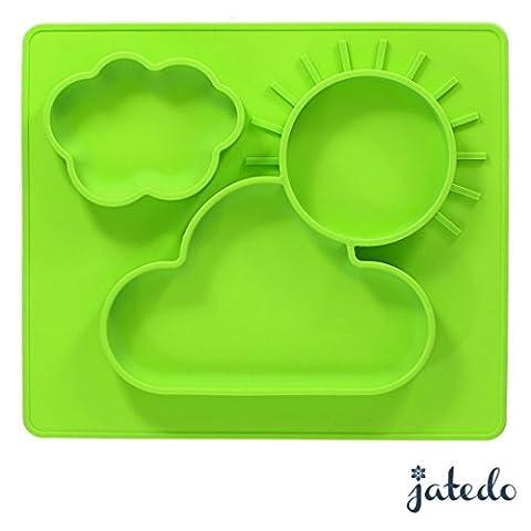 jatedo Baby Assiettes et espace tapis 2en 1–Support pour votre bébé ou enfant (35x 30cm, vert) | Table antidérapante en silicone sans BPA, PVC et phtalaten