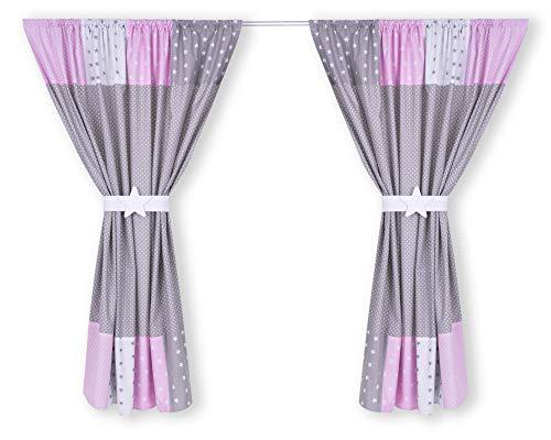 Amilian® Kinderzimmer Vorhänge 155 x 155 cm Set mit Schlaufen Baby Gardinen Vorhang V27 - Kinderzimmer Vorhänge Für Ein