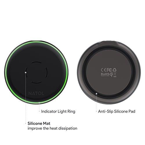 NATOL Cargador Inalámbrico, Wireless Charger Qi 10W para iPhone X / 8 / 8 Plus, Samsung Galaxy S9 Plus/S9/S8/Note 8 y Otros Dispositivos Compatibles con Qi (Cable Micro USB incluido)