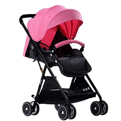 Multi Kinderwagen Kombikinderwagen Buggy Kinderwagenset höhenverstellbarer Griff, klein faltbar, leicht,Pink ()