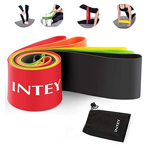 INTEY Elastici Fitness Bande - Set di 5 Loop Bands al Lattice Naturale, per Yoga Stiramento Powerlifting Elastico, con Borsa per il Trasporto, Adatto per Palestra e Allenamento a Casa