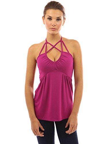 PattyBoutik Damen V-Ausschnitt Empire-Taille Top mit geometrischen Bänder ohne Ärmeln (Magenta 36/S)