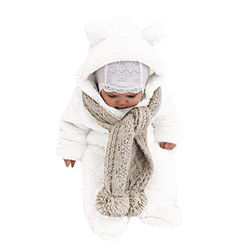 Pwtchenty Kinderbekleidung Baby Winter Overall Mit Kapuze Fleeceoverall Unisex Baby Neugeborenes 0-24 Monate Unisex Strampelanzug Warmer Strampler Spielanzug Jumpsuit Warmen Mantel OutwearPwtchenty