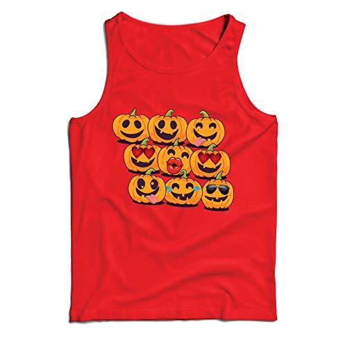 lepni.me Weste Kürbis Emoji Lustiges Halloween-Party-Kostüm (Medium Rot Mehrfarben)