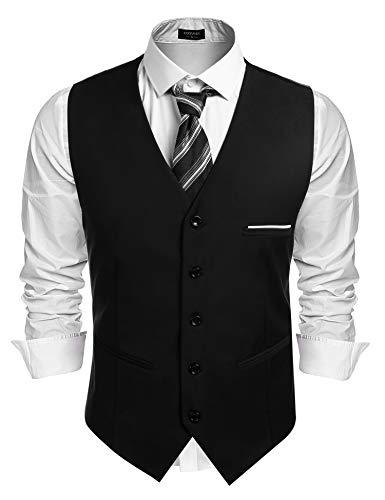 Coofandy Herren Weste Slim Fit Einreiher/Zweireiher mit 5 Knöpfen Gilet Business Casual Klassisch Basic Männer Anzugweste für Herren (Schwarz-45, Small)