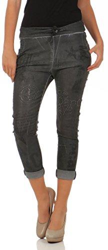 malito Damen Jeans mit Muster | Hose mit Strass | Stretch Jeans im Denim Look | Joggjeans – Slim fit 7556 (dunkelgrau, L) (Strass-pocket-jeans)