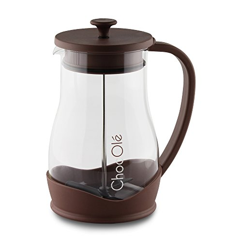 Choc Ole Gerät für heiße Schokolade mit manueller Mixer, Transparent, 1,2Liter