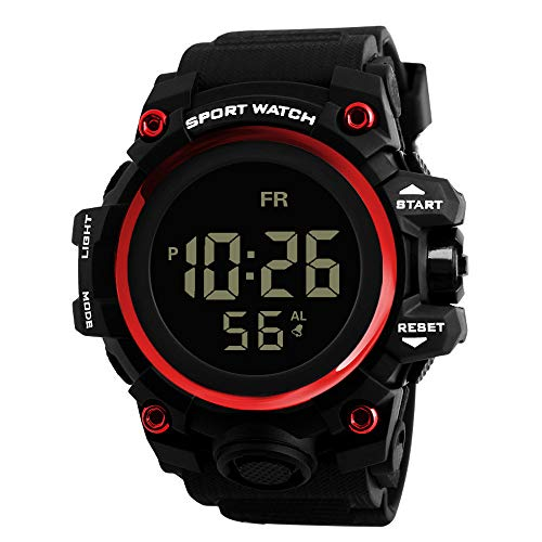 Herrenuhr, Yuwegr Analog Digital Silikonband Männer Uhren LED Military Sportuhr Wasserdichte Armbanduhr (Rot)
