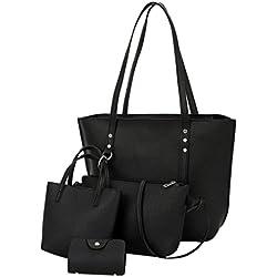 Saisiyiky Lot de 4 sacs pour femme en cuir synthétique avec 1 sac porté épaule, 1 sac bandoulière, 1 sac à main et 1 porte-monnaie Noir