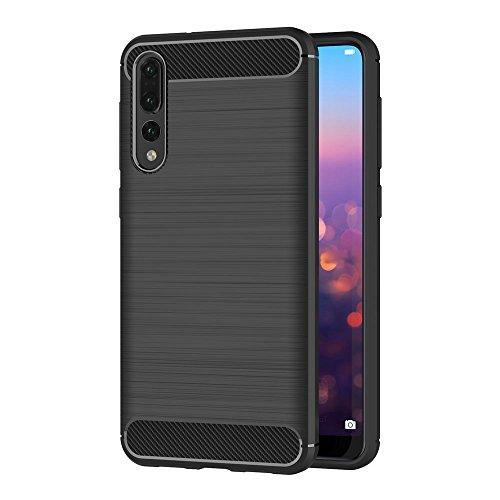 Coque Huawei P20 Pro, AICEK Noir Silicone Coque pour Huawei P20 Pro Housse Fibre de Carbone Etui Case (6,1 Pouces)
