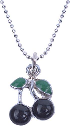 Unbekannt Damen Halskette Fifties Kirsche Cherry Rockabilly Necklace (Schwarz/Grün/Silber)
