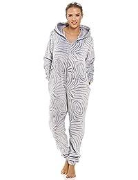 Camille - Combinaison-pyjama à capuche pour femme - polaire douce - motif zèbre - gris