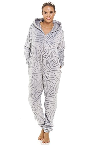 Camille Womens Ladies Grey Supersoft Fleece Zebra Print Hooded Onesie