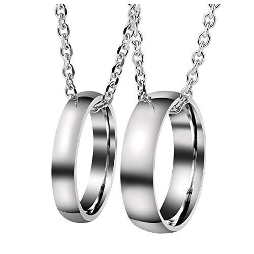 Zysta Gravur 2PCS Pärchen Kette- Edelstahl Damen Herren Ringe Anhänger Paar Halskette mit Gravur für Paare Liebhaber (#2(ohne Gravur))