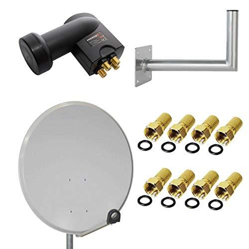 PremiumX HD Sat Anlage Satellitenantenne 80cm Stahl Schüssel Antenne Spiegel Hellgrau FullHD + Quad LNB 0,1 dB Quattro 4 Teilnehmer Digital HDTV + Wandhalter 45cm ALU TÜV + F-Stecker 7,5mm