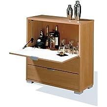 Mueble-bar auxiliar con barra abatible y dos cajones, color cerezo, para salones o dormitorios medida 81x84