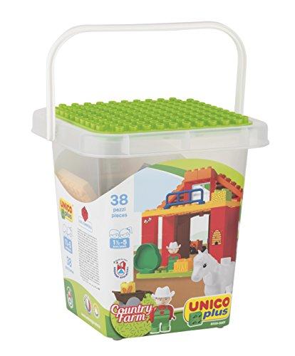 Androni giocattoli 8559-0000-secchio mattoncini fattoria, 8559-0000