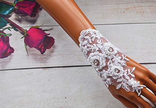Kommunion Mädchen - Handschuhe Spitze Strass Glasperlen weiß creme