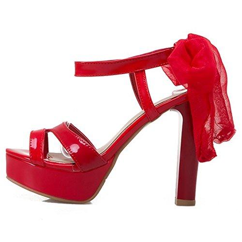 COOLCEPT Damen Mode Schnurung Sandalen Slingback Plateau Peep Toe Blockabsatz Schuhe Rot