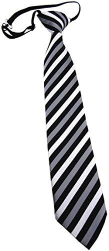 TigerTie Kinderkrawatte silber grau schwarz gestreift - Krawatte vorgebunden mit Gummizug