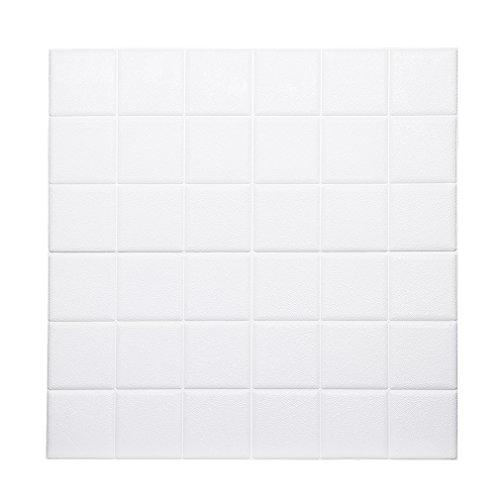 Preisvergleich Produktbild KINLO 15pcs Wandpaneele Selbstklebend 60 x 60 cm PVC Schaum 3D Ziegelstein Tapete Wasserdicht Wandtattoo Anti-Kollision Wallpaper Weiß