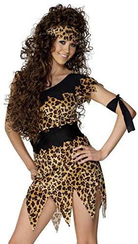 dschungel kostuem damen Smiffys Damen Höhlenfrau Kostüm, Tunika, Gürtel, Stirnband und Armband, Größe: L, 28600