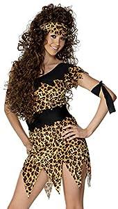 Smiffys Disfraz de Mujer cavernícola, Negro y marrón, Estampado de Leopardo, con túnica, cinturón, Banda para el Pelo y el Brazo