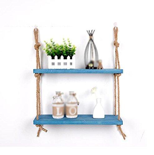 Ju fu mensole moderni e semplici scaffali blu a 2 strati - ripiani in legno massello gratis - pareti attrezzate mensole a muro in legno per soggiorno - 40 * 50cm