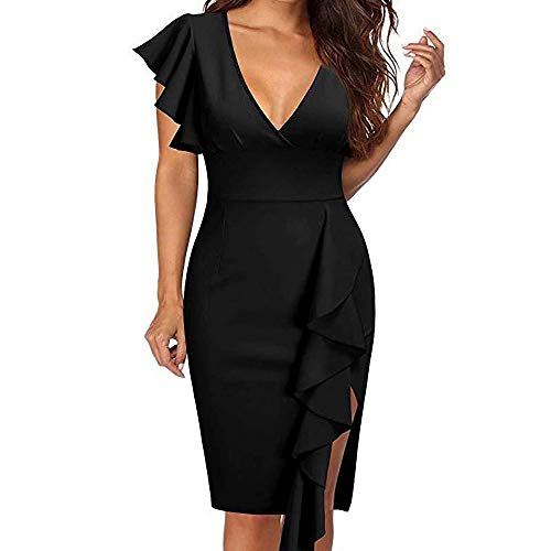 YuJian12 FeiXing158 Größe Elegantes Sommerkleid mit Rüschenärmeln und Reißverschluss Frau Sexy V-Ausschnitt Midi Kleider 3XL