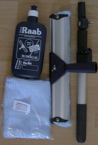 Ha-Ra Vollpflege 1 x 500ml & 1 x Ha-Ra Fensterwischer 32cm & 1 x Ha-Ra Hammer XXL Trockentuch Microfaser 50 x 68 cm & 1 x Teleskopstange (von 0,5 m bis 1,0 m verstellbar)