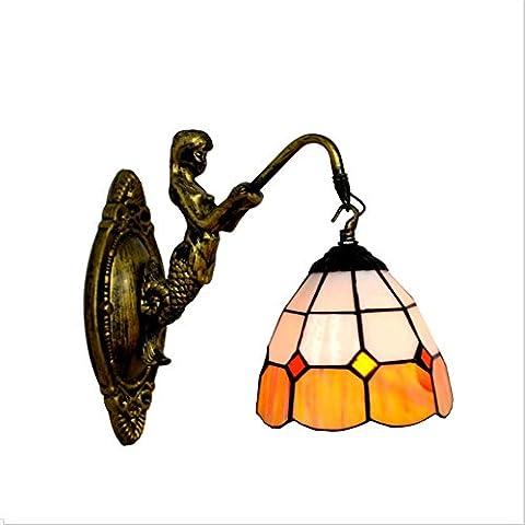 IAGM Wandlampe Wandbeleuchtung E27 Liste Retro Resin Buntglas 8 Zoll Single Head Fischschwanz Wand Lampe , E