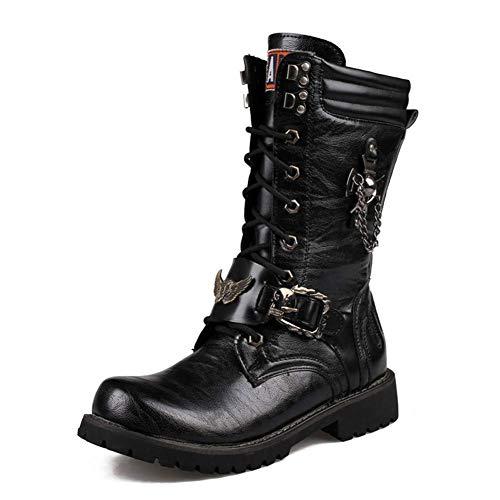 LXLLY Botas Estilo Punk Botas Altas para Hombre Botas Martin Botas para la Nieve de Cuero Reales del Desierto Botas Altas Impermeables Antideslizantes Zapatos,42