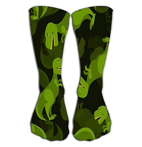 Outdoor Sports Men Women High Socks Stocking Dinosaur d Background Tyrannosaurus Prehistoric Predator Ornament Baby Tissue t rex Lizard Period Tile Length 19.7