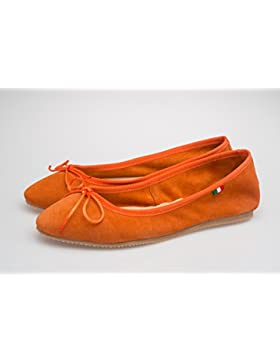Scarpa Donna Ballerina, In pelle scamosciata -SilferShoes - made In Italy - Colore Arancio