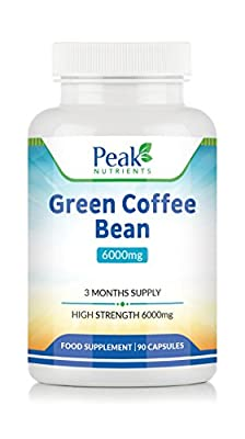 Green Coffee Bean Extract 6000mg, 90 Capsules (3 Months Supply), High Strength For Maximum Results, Weight Management Supplement - Manufactured In The U.K To GMP Standards by Peak Nutrients