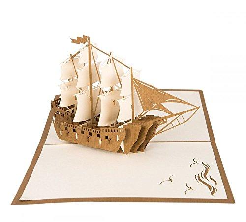 Segelschiff - 3D Karte / Pop-Up Karte - Segelboot als Klappkarte