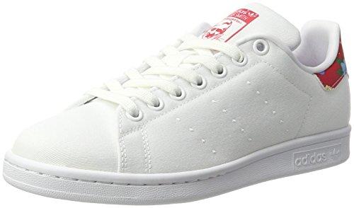 adidas Stan Smith W, Chaussures de Running Femme Beige (Ftwwht/ftwwht/powred)