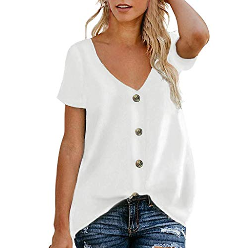 Makefortune  2019 New!! Womens Ladies V Neck Tops Short Sleeve Button Down Loose Blouse T Shirt Solid Color Summer Casual Tunic Top