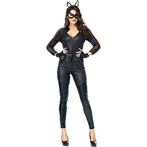 SHANGN Catwoman Cosplay Kostüm, Cat Girl Kostüm, Halloween Christmas Dance Bühnenkostüme,Black-L (Black Cat Spiderman Kostüm)