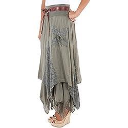 Falda de Capas con Encaje Asimétrica Estilo Hippie
