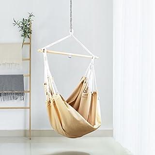 Holifine Hängesessel mit Querholz Hängestuhl aus 100% Baumwolle Großer XXL Hängesitz für 2 Personen, bis 150 kg belastbar, 185 x 130 cm, Beige