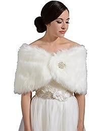 185c4989e4e Women s Faux Fur Wrap Cape Stole Shawl Bolero Jacket Coat Shrug For Wedding  Dress
