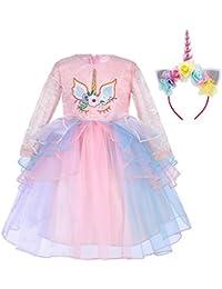 IWEMEK Princesa Bebé Niña Vestido Unicornio Cumpleaños Disfraz de Cosplay para Fiesta Carnaval Navidad Bautizo Comunión