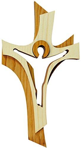 Kaltner Präsente Geschenkidee - Wandkreuz Echtes Holz Kreuz aus Fichte Kruzifix Auferstehungskreuz für die Wand 19 cm modern gefertigt im Grödner Tal Südtirol