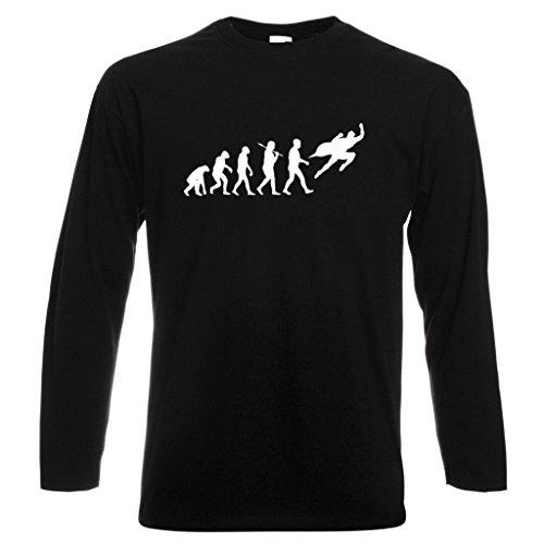 Evolution Superhero Longsleeve schwarz T Shirt mit weiß Print Gr. XX-Large, schwarz