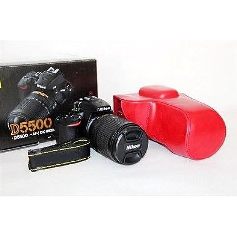 Protección pu cuero de la cámara del bolso del caso con el trípode Diseño Compatible para Nikon D5500 Lente 18-105mm / lente 18-135mm / 18-140mm lente Rojo