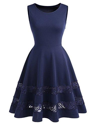 Dressystar Damen Brautjungfernkleid 50er Kleid Damen Ärmellos Spitze Kleider Elegant Saum Marineblau